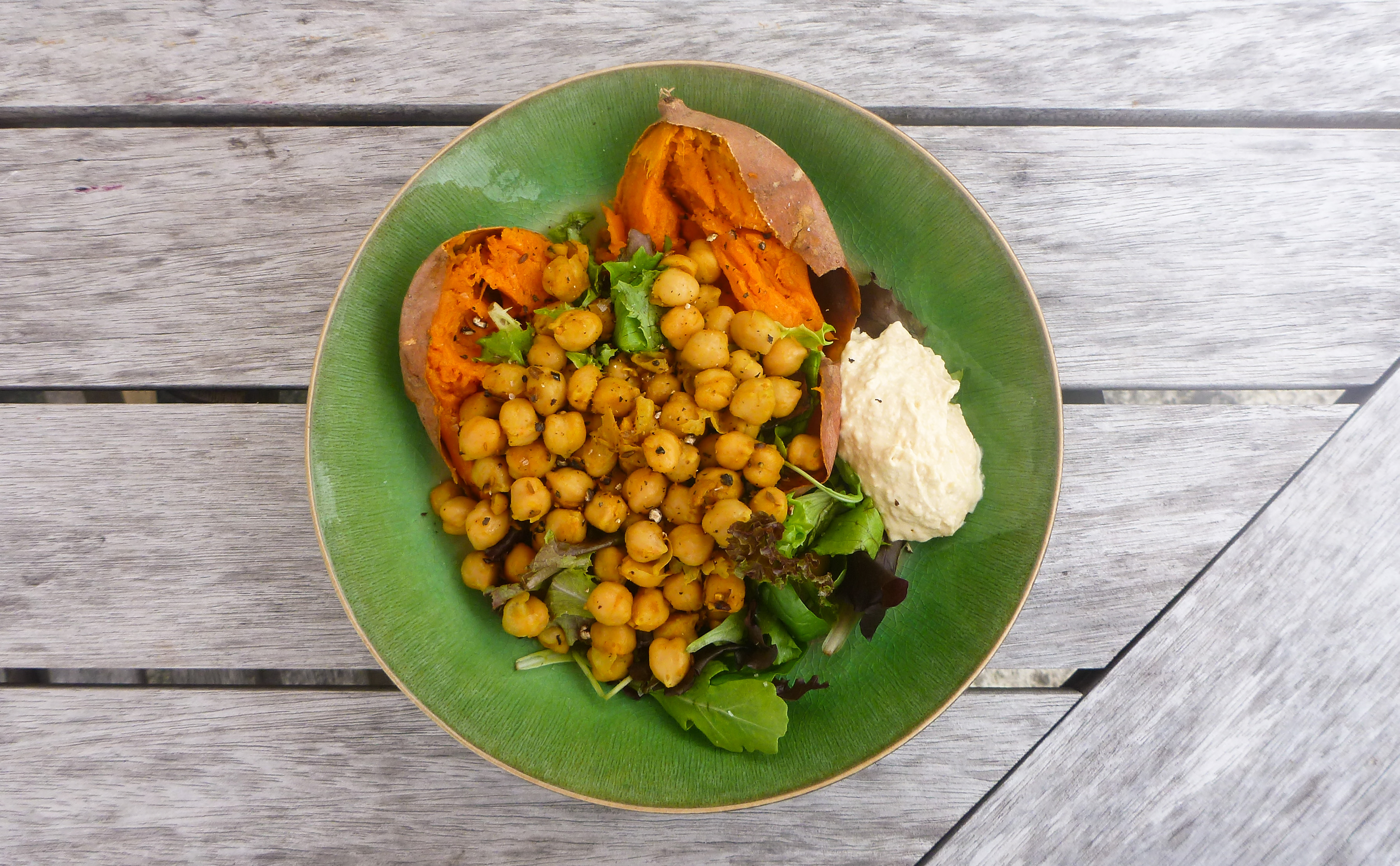 Baked Sweet Potato with Curried Chickpeas, Greens and Hummus | Food ...